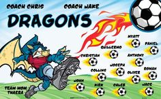 Dragons B51759  digitally printed vinyl soccer sports team banner. Made in the USA and shipped fast by BannersUSA.  You can easily create a similar banner using our Live Designer where you can manipulate ALL of the elements of ANY template.  You can change colors, add/change/remove text and graphics and resize the elements of your design, making it completely your own creation.