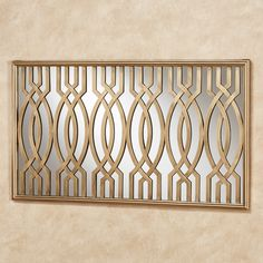 Curving strips of satin gold metal overlap and weave across the reflective surface of the Byanca Mirrored Wall Art for a captivating display. Gold Wall Decor, Metal Wall Decor, Metal Wall Art, Balcony Grill Design, Window Grill Design, Mirror Panels, Mirror Wall Art, Mirrors, Metal Wall Sculpture