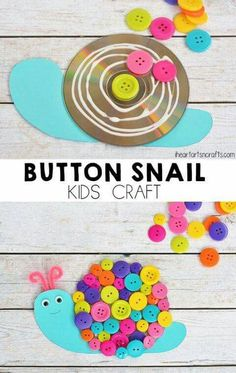 Button Snail Craft For Kids - I Heart Arts n Crafts Kids Crafts, Summer Crafts For Kids, Spring Crafts, Preschool Crafts, Diy For Kids, Easy Crafts, Arts And Crafts, Paper Crafts, Snail Craft