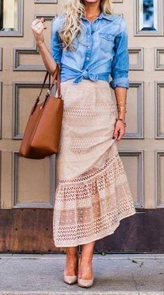 #winter #fashion /  Denim Shirt + Pink Maxi Skirt