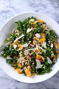 Roasted Butternut Squash, Kale and Couscous Salad - could sub  sweet potatoes & spinach