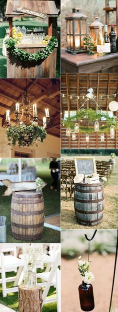 rustic wedding decoration with elegant details