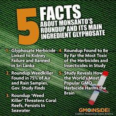 Roundup is being linked to kidney failure, contamination, habitat die off, environmental damage and so much more! Get the current 5 facts from GMO Inside.
