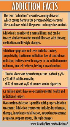 Addiction Facts | Read more information about Addictions: Symptoms, Causes, Treatments. www.HealthyPlace.com/addictions/