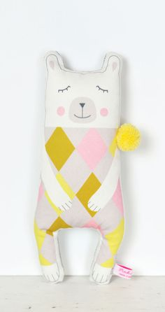 handmade polar bear doll in yellow and pink for kids room - by PinkNounou