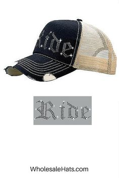 """""""Ride"""" Black Distressed Trucker Hat Embroidered with Rhinestones. $8.45ea/dz. Buy Now!"""