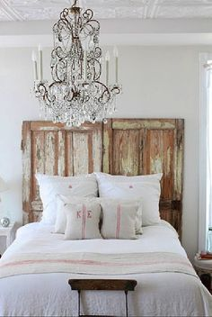 Repurpose old doors into headboard and add a chandelier for a shabby chic bedroom Shabby Chic Bedrooms, Chic Interior, French Country Bedrooms, Chic Interior Design, Headboard From Old Door, Bedroom Decor, Beautiful Bedrooms, Home Decor, Country Bedroom