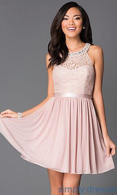 Dresses, Formal, Prom Dresses, Evening Wear: Short Sleeveless Sequin Hearts Dress 2533SJ1P with Lace Bodice