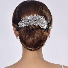 """5.04"""" Bridal Flower Hair Comb Pieces Clear Rhinestone Crystal Teardrop"""