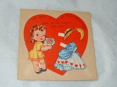 Vintage Valentine Card Paper Doll Old Fashioned Girl