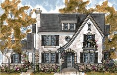 too cute - Elevation of Country European Tudor House Plan 68279 familyhomeplans.com