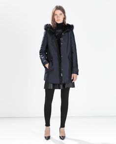 ZARA - WOMAN - FAUX FUR HOODED DUFFLE COAT WITH TOGGLES