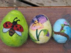 Needle felted Easter Eggs by deanne