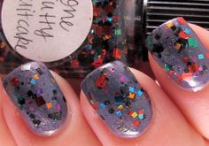 The first coat of chunky glitter polishes should be dabbed, not brushed on.
