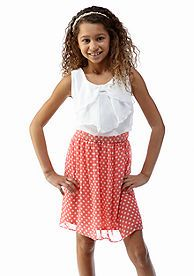 Amy Byer Bow Front Dot Dress Girls 7-16