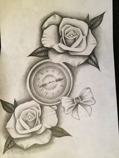 Lining tattoo shaded black n grey black and grey german artist Roses rose bow pocket watch realistic tattoo illustration illustrator ink black leaf paper sketch
