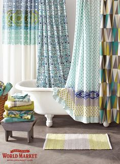Refresh your space for Spring! Our assortment of unique shower curtains and stylish shower curtain rings means World Market is your destination for bathroom inspiration.