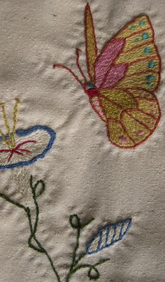 detail from embroidered silk panel by L. Ramke