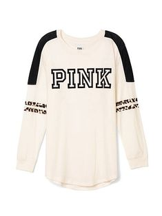 Varsity Tee PINK  JH-330-354 (3FD) 29.50  This classic crew is super comfy thanks to an oversized fit and longer, tunic length. Must-have sweats by Victoria's Secret PINK.      Oversized      Print graphics      Our lightest French Terry      Longer, tunic length      Imported cotton/polyester