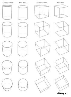 How To Draw A Cube In Perspective 3 point Perspective Vs. Basic Drawing, Drawing Skills, Step By Step Drawing, Drawing Techniques, Drawing Tips, Perspective Drawing Lessons, Perspective Art, Geometric Drawing, Geometric Shapes