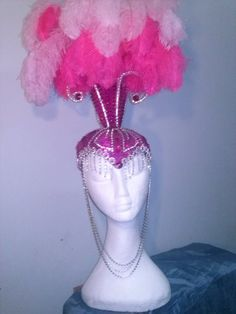 showgirl headdress by Showbizz on Etsy Showgirl Costume, Vegas Showgirl, Doll Costume, Headdress, Headpiece, Las Vegas Show Girls, Flamingo Costume, Pink Hat, Everything Pink