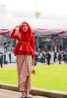 Dian Pelangi on Independence Day ceremony formal hijab traditional inspiration…