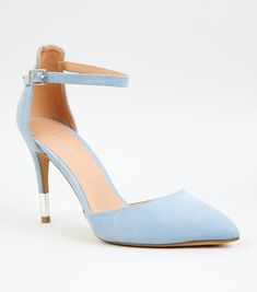 660e52aeb7 Pale Blue Suedette Ankle Strap Stiletto Courts | New Look