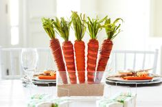 Centre de table de Pâques à motif de carotte