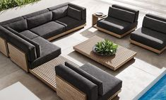 Designed by Ramón Esteve for Restoration Hardware, the Caicos outdoor furniture collection is made with rows of slats to create a bold linear pattern. Outdoor Furniture Design, Deck Furniture, Furniture Ideas, Out Door Furniture, Restoration Hardware Outdoor Furniture, Modern Furniture, House Furniture Design, Futuristic Furniture, Plywood Furniture