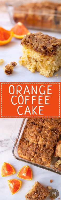 Orange Coffee Cake: Delicious coffee cake with a crunchy crumb topping and laced with citrus flavors. Perfect with tall cup of coffee or just have a slice for dessert!   macheesmo.com