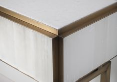 Detail gypse & patinated brass console, gypse furniture, selenite furniture, gypse console, brass furniture, brass detail, patinated brass Gypse, Metal Finishes, Joinery, Console, Brass, It Is Finished, Detail, Bedroom, Design