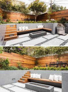 On the lower level of this modern backyard, there's custom-colored concrete walls with a built-in wood bench that fits into the corner and sits beside the firepit. On the ground, pavers are surrounded by riverstone, while wood stairs lead to the up Backyard Patio Designs, Small Backyard Landscaping, Modern Landscaping, Concrete Backyard, Cool Backyard Ideas, Landscaping Ideas For Backyard, Low Deck Designs, Sunken Patio, Stone Backyard