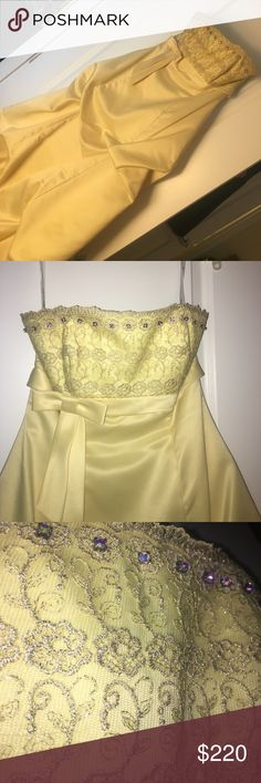 """Belle"" inspired yellow prom dress w/ lace detail Wonderful shape, beautiful Belle-like prom dress! Has great lace detail and rhinestones. Morgan & Co Dresses Prom"
