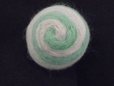 One multi-colored felted pin-cushion, Mint Green and White by Dreamcrafter on Etsy