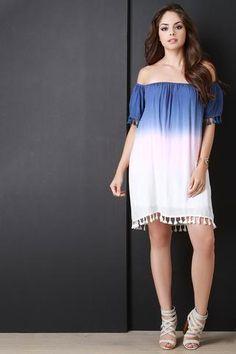 Dip Dye Tassel Hem Midi Dress