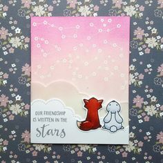 A friendship card that I created with the Upon a Star stamp set from Lawn Fawn.