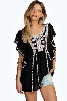 Beatrice Cape Sleeve Embroidered Blouse at boohoo.com
