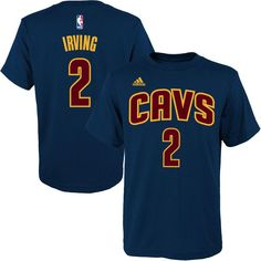 Youth adidas Kyrie Irving Navy Blue Cleveland Cavaliers Game Time Name &  Number T-Shirt