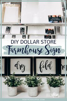 Interested in creating a farmhouse sign, but don't have any power tools? This simple and inexpensive DIY on how to make a farmhouse sign using Dollar Store artist panels will blow your mind.  #diydecor #laundryroom #farmhousedecor #modernfarmhouse