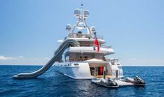 Inflatable Yacht Water Slide with Jet Ski Dock
