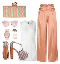 """""""Peach Perfect"""" by ms-shoezy on Polyvore featuring Rick Owens, Edun, Jessica Simpson, Sophia Webster, Karen Walker, Accessorize, Anne Sisteron and Michael Kors"""