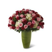 Pink And Red Rose Hydrangea Luxury Flower Bouquet at Send Flowers! Send red roses, pink roses & white hydrangea in a luxury leaf wrapped flower vase today. Pink Rose Bouquet, Red Bouquet Wedding, Red Wedding, Ecuadorian Roses, Orchid Centerpieces, Red And Pink Roses, Rose Arrangements, Pink Hydrangea, Same Day Flower Delivery
