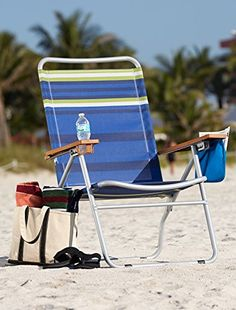 Extra-Wide Mesh Folding Beach Chair (Blue Stripe) ** Be sure to check out this awesome product.