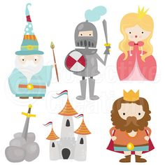 Little Camelot Digital Clip Art Clipart Set por CollectiveCreation Art Clipart, Fairy Tale Theme, Fairy Tales, Doodle Characters, Medieval Party, Knight Art, Dragons, Journal Cards, Conte