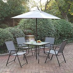 Outdoor Patio Furniture Dining Set Cream Umbrella Foldable Chairs Glass Table -- Find out more about the great product at the image link. (This is an affiliate link) #PatioFurnitureandAccessories