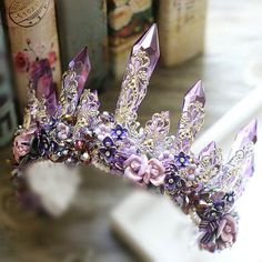 Bridal crown purple crystal crown wedding violet tiara lilac headpiece flower crown bridal crystal crown silver wedding crown headband
