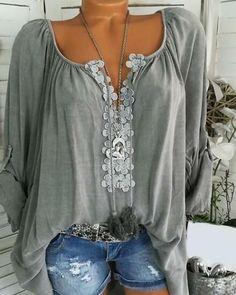 Long Blouse, Short Sleeve Blouse, Long Sleeve Shirts, Plus Size Blouses, Plus Size Tops, Tops Boho, Lace Ruffle, Ruffle Sleeve, Mode Outfits