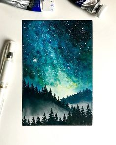 Art Inspo, Painting Inspiration, Art Galaxie, Painting & Drawing, Watercolor Paintings, Learn Painting, Art Diy, Galaxy Art, Pastel Art