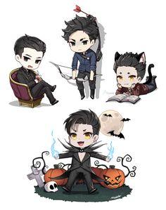 Halloween ... Drawn by 최종변론 M씨¼ ... shadowhunters, the mortal instruments, magnus bane, alexander 'alec' lightwood, raphael santiago