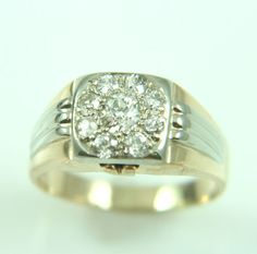 1.50CT MENS 14K GOLD DIAMOND CLUSTER RING